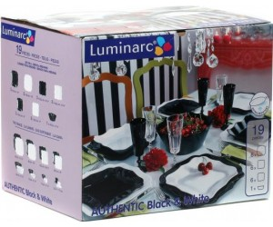 Luminarc (Arcopal) Сервиз Authentic Black White столовый 19 пр. E6195