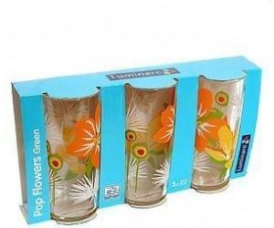 Luminarc Набор высоких стаканов 3 шт. Pop flowers green C5926