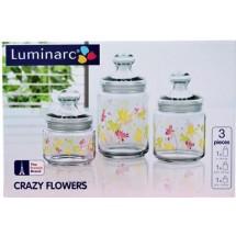 Luminarc (Arcopal) Набор банок 3 шт. Crazy Flower H9942